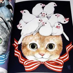 Cat Illustrations in book by Higuchi Yuko Artworks http://www.otaku.co.uk/images/Catalogue/87785M5.JPG Art Book Strange fairytale style illustrations make this a weird and wonderful art book. http://higuchiyuko.com/ http://higuchiyuko.tumblr.com/ #catillustrations #catart