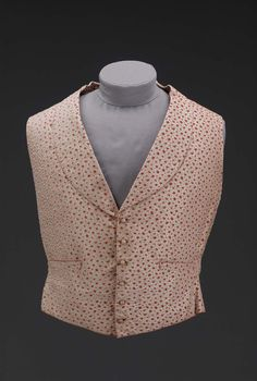 1850, America - Waistcoat - Silk cut and voided velvet, silk needleworked buttons, cotton plain weave lining and backing, brass-colored metal groments and buckle