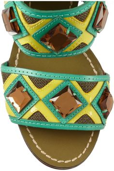 Tory BurchEtta crystal-embellished canvas and leather sandals close up