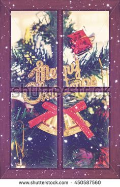 window, christmas decoration and night snow nature background, vintage tone [blur and select focus]