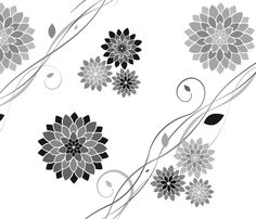 fabric, upholstery, patterns, quilting fabric, wallpaper, wrapping paper - Dahlia Flowers White Grey Black fabric by wickedrefined on Spoonflower