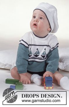 Baby Knitting Patterns Jumper Baby - Free Knitting Patterns and Crochet Patterns by DROPS Design Baby Knitting Patterns Free Newborn, Free Baby Patterns, Knitting Machine Patterns, Baby Boy Knitting, Knitting For Kids, Crochet For Kids, Crochet Baby, Hand Knitting, Crochet Patterns