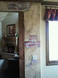 Painted faux brick and plaster