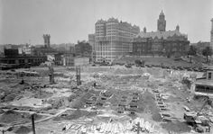 "A photograph from 1926 showing the cleared site for what would become the new Los Angeles City Hall. ""Murder at Eastern Columbia,"" a James Murray mystery, by Christopher Geoffrey McPherson."