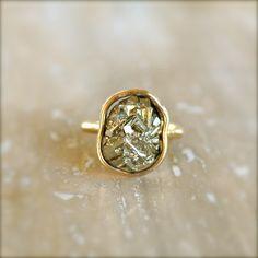 Pyrite Gold Ring. $38.00, via Etsy.