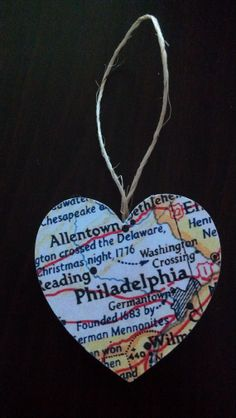 Home is Where the Heart Is... Handmade Personalized Map Christmas Ornament