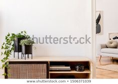 Stock Photo: Modern scandinavian home interior with design wooden commode, plants in black pots, gray sofa, books and personal accessories. Stylish home decor. Scandinavian Home Interiors, Gray Sofa, Stylish Home Decor, White Walls, Decoration, Home Interior Design, Entryway, Stock Photos, Furniture