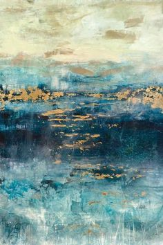 East Urban Home Teal and Gold Scape by Julian Spencer - Wrapped Canvas Graphic Art Print Size: Canvas Artwork, Canvas Art Prints, Painting Prints, Teal Canvas Art, Teal Artwork, Teal Wall Art, Canvas Size, Rain Painting, Canvas Paintings