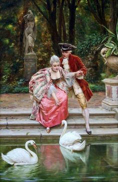 The Athenaeum - Feeding the swans (Charles Joseph Frederick Soulacroix - )