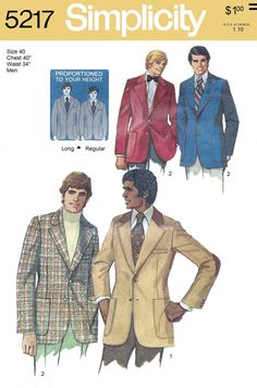 Simplicity 5217 Men's 70s Proportioned Lined Jacket by Denisecraft
