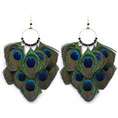 Fashion peacock feather earrings Ethnic Style Long Eardrop Dangle Earrings Long big round Earrings Jewelry for Women girl