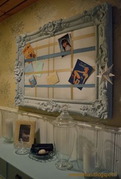 100% kierrätysmateriaalista muistitaulu. Frame, Diy, Home Decor, Picture Frame, Decoration Home, Bricolage, Room Decor, Do It Yourself, Frames