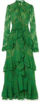 Green cotton-blend lace Button and concealed zip fastening at back cotton, polyamide Dry clean Made in the UK Dressy Sandals, Lace Button, Green Satin, Green Cotton, Fall Skirts, Erdem, Designer Dresses, Beautiful Dresses, Dress Outfits