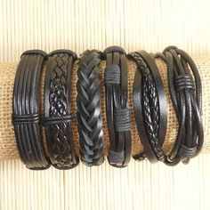 Leather Bracelets for Men 6 Piece Set for Women Woven Braided Braclets Easter Gift 6P-526