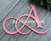 Initial Monogram Initials Wall Letters Wooden Letters Script Hanging Baby Name Letters Nursery Name Wall Decor (Click < > for + styles.)