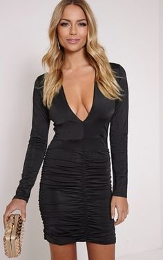 8c9f1dd752 Alana Black Plunge Ruched Bodycon Dress ( 85) ❤ liked on Polyvore featuring  dresses