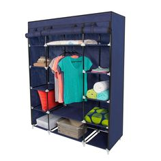 Best Choice Products 53 Portable Closet Storage Organizer Wardrobe Clothes Rack with Shelves Blue ** Visit the image link more details. Portable Wardrobe Closet, Wardrobe Storage, Closet Storage, Storage Rack, Closet Organization, Storage Shelves, Storage Spaces, Locker Storage, Storage Ideas