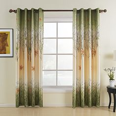 Green Maple Leaf Curtains KoTing Gorgeous Tree Lined Window Curtains Grommet Top 2 panel Custom Made Drapes 84 inch Long 50 84 >>> To view further for this item, visit the image link-affiliate link. Leaf Curtains, Wide Curtains, Curtains And Draperies, Grommet Curtains, Blackout Curtains, Panel Curtains, Bedroom Curtains, Yellow Curtains, Printed Curtains