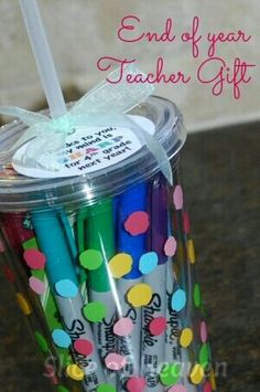 Make this for your teacher buy them a cup and tie this tag on the top and put Sharpes in them but before you give it to them have everyone sign it