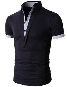 Doublju Men's Unique Hybrid Fashion Polo Shirts with Short Sleeve (KMTTS0102) #doublju