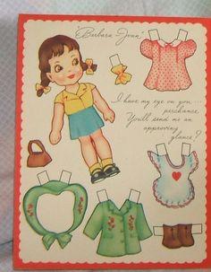 Valentine Paper Doll Greeting Card Circa 1930s Uncut A Meri Card T 174 | eBay