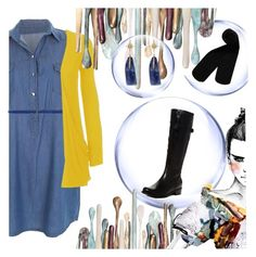 """""""Chambray dress/Yellow sweater"""" by andreachidisima on Polyvore featuring M.GRIFONI DENIM, WearAll, Blondo and Monki"""