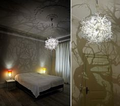 Bei dieser Lampe enstehen Schatten wie in einem Wald