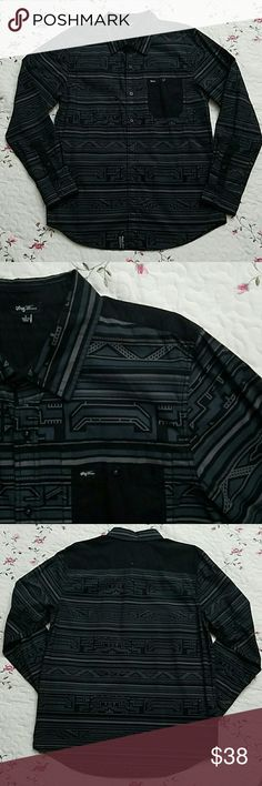 Lrg Tribal Print Shirt Tribal Print Shirt from the Lrg Men's exclusive 'Wovens' line. Black with gray and steel blue accents. Features all black breast pocket and nape/back black panel as shown in images. Excellent like new condition, no flaws or damages. Lrg Shirts Casual Button Down Shirts