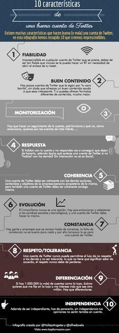 Una infografía con 10 características de una buena cuenta de Twitter. Infografía realizada con Piktochart. Un saludo