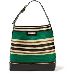 Marni Leather-trimmed raffia tote (1,360 CAD) ❤ liked on Polyvore featuring women's fashion, bags, handbags, tote bags, green, colorful tote bags, white tote, raffia beach tote, green handbags and beach tote bags