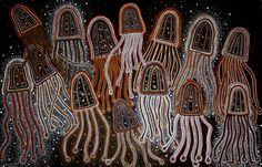Box Jellyfish by Darlene Devery a self professed new wave contemporary Australian Indigenous artist - Australia Aboriginal art Aboriginal Dot Art, Aboriginal Culture, Aboriginal Painting, Dot Painting, Aboriginal Art Animals, Encaustic Painting, Indigenous Australian Art, Indigenous Art, Australian Artists