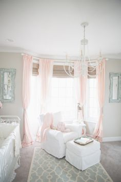 Pink and gray shabby chic nursery.