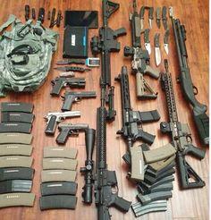 Ready for the Zombie Apocolypse! Weapons Guns, Airsoft Guns, Guns And Ammo, Bushcraft, Survival Supplies, Survival Gear, Home Defense, Self Defense, Military Guns