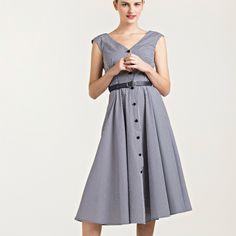 Button-Detailed Cotton Dress