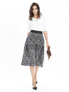 Keep it chic this season with our geo lace midi skirt  | Banana Republic