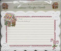 "Carol's Rose Garden Christmas Holiday Recipe Cards Gingerbread House 4"" x 6"" | Home & Garden, Kitchen, Dining & Bar, Kitchen Storage & Organization | eBay!"