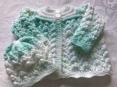 Hand Knitted Babies Pastel Green and White  Matinee Cardigan and Hat. £10.49