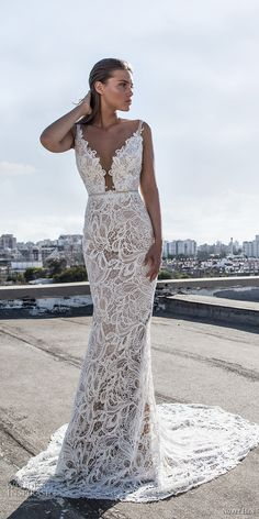nurit hen 2017 bridal thin strap deep plunging v neck full embellishment sexy elegant sheath wedding dress chapel train (24) mv -- Nurit Hen Ivory and White 2017 Wedding Dresses