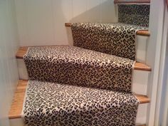 Colony wool Leopard installed custom on a client's staircase in Essex, CT