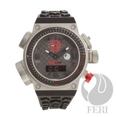 FERI RED Line Super Charger - Swiss Movement - Titanium case - Steel case with Genuine Carbon Fibre - Silicon Strap with square buckle - All dial is Black with Carbon Fibre Pattern, Red & black accents - 10 ATM Black Accents, High End Fashion, Casio Watch, Luxury Watches, Carbon Fiber, Fashion Brand, Wealth, Basel, Charger