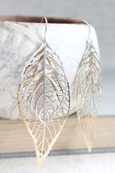 Big Gold and Silver Leaf Earrings Large Leaves by apocketofposies