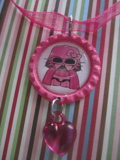 Darth Vader Hello Kitty Bottlecap Necklace. Pink overload :-)