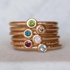 Gemstone Gold Pebble Ring Gold Birthstone Ring by LilianGinebra