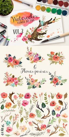 Not free but I love it! Watercolor flower DIY pack Vol.3 by Graphic Box on Creative Market