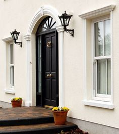 Plaster Coving Ireland - Slaney Plaster Mouldings Ltd Exterior Window Molding, Stucco Exterior, House Paint Exterior, Front Door Design Wood, House Front Design, Window Design, House Windows, Facade House, Archways In Homes