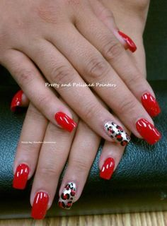 By Pretty Polished Pointers. I used CND Clear acrylic for these sculptured nails. I then polished with NAILTIQUE Red Moscow for this beautiful red manicure and added an accent of leopard in gold, red and black! Red Manicure, Manicure Y Pedicure, Manicure Ideas, Pretty Nail Colors, Pretty Nails, Funky Nails, Cute Nails, Sculptured Nails, French Acrylic Nails