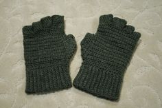 Crochet Men's fingerless gloves the pattern also has instructions for full finger gloves in mens and ladies sizes and gloves with slits in half way up enjoy
