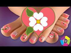 Flores en Corazones   Decoración de Uñas para Pies Fácil   Flowers in Hearts Foot Nail Art - YouTube