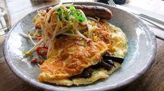 Pulled pork omelette w/ Thai Sausage, Mushrooms, Chilli jam, Asian shoot salad - Baba Sus, Glen Iris