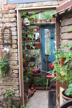 Potting shed, Alexandra Nurseries- garden centre / cafe / vintage shop in Penge, South London. Photo by junkaholique: london sun (part one). Greenhouse Shed, Greenhouse Gardening, Dream Garden, Home And Garden, Potting Tables, Old Bricks, She Sheds, Potting Sheds, Cactus Y Suculentas